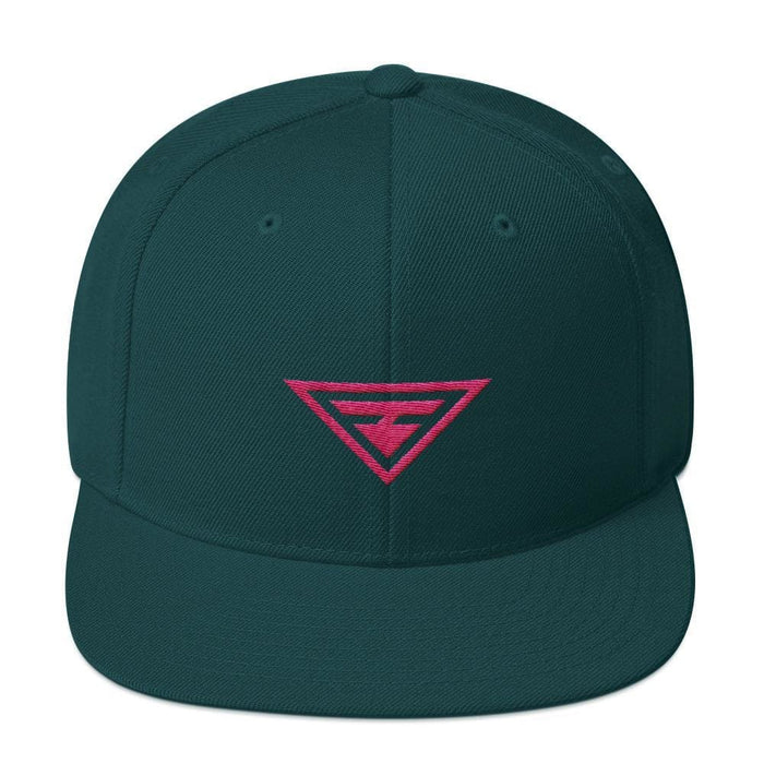 Hero Snapback Hat with Flat Brim Embroidered in Pink Thread - One-size / Spruce - Hats