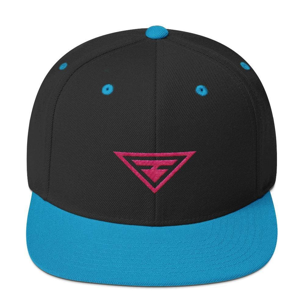 Hero Snapback Hat with Flat Brim Embroidered in Pink Thread - One-size / Teal - Hats