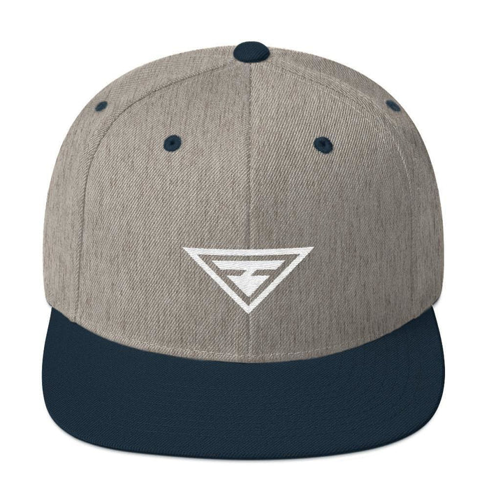 Hero Snapback Hat with Flat Brim - One-size / Heather Grey/ Navy - Hats