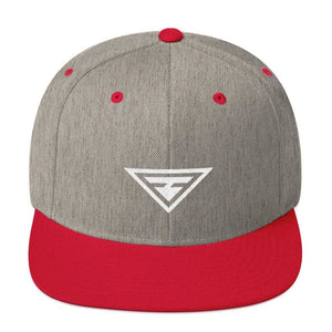 Hero Snapback Hat with Flat Brim - One-size / Heather Grey/ Red - Hats