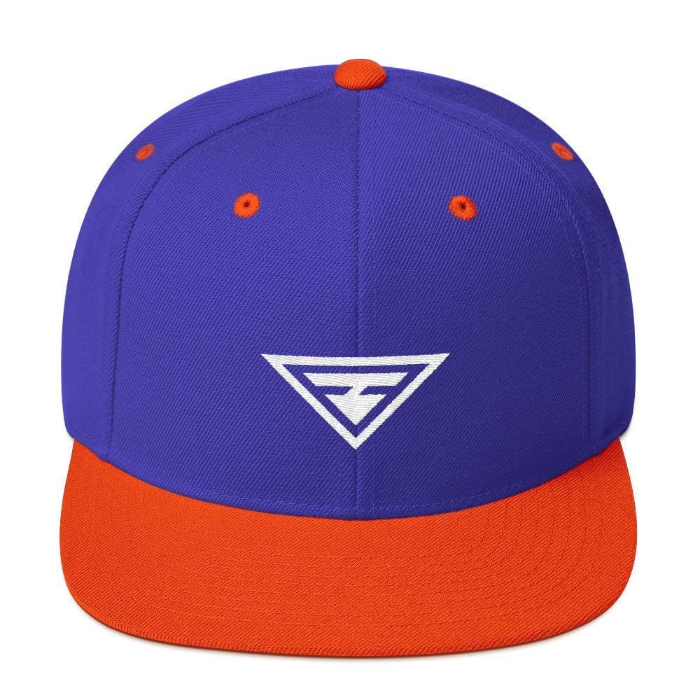 Hero Snapback Hat with Flat Brim - One-size / Royal Blue & Orange - Hats