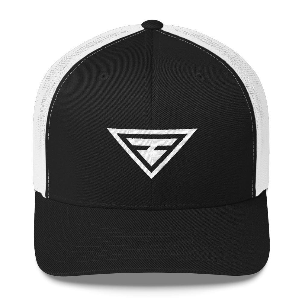 Hero Snapback Trucker Hat Embroidered in White Thread - One-size / Black - Hats