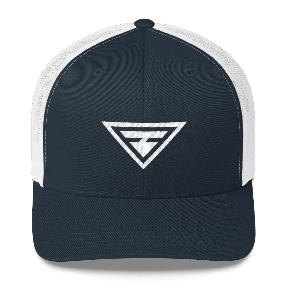 Hero Snapback Trucker Hat Embroidered in White Thread - One-size / Navy - Hats