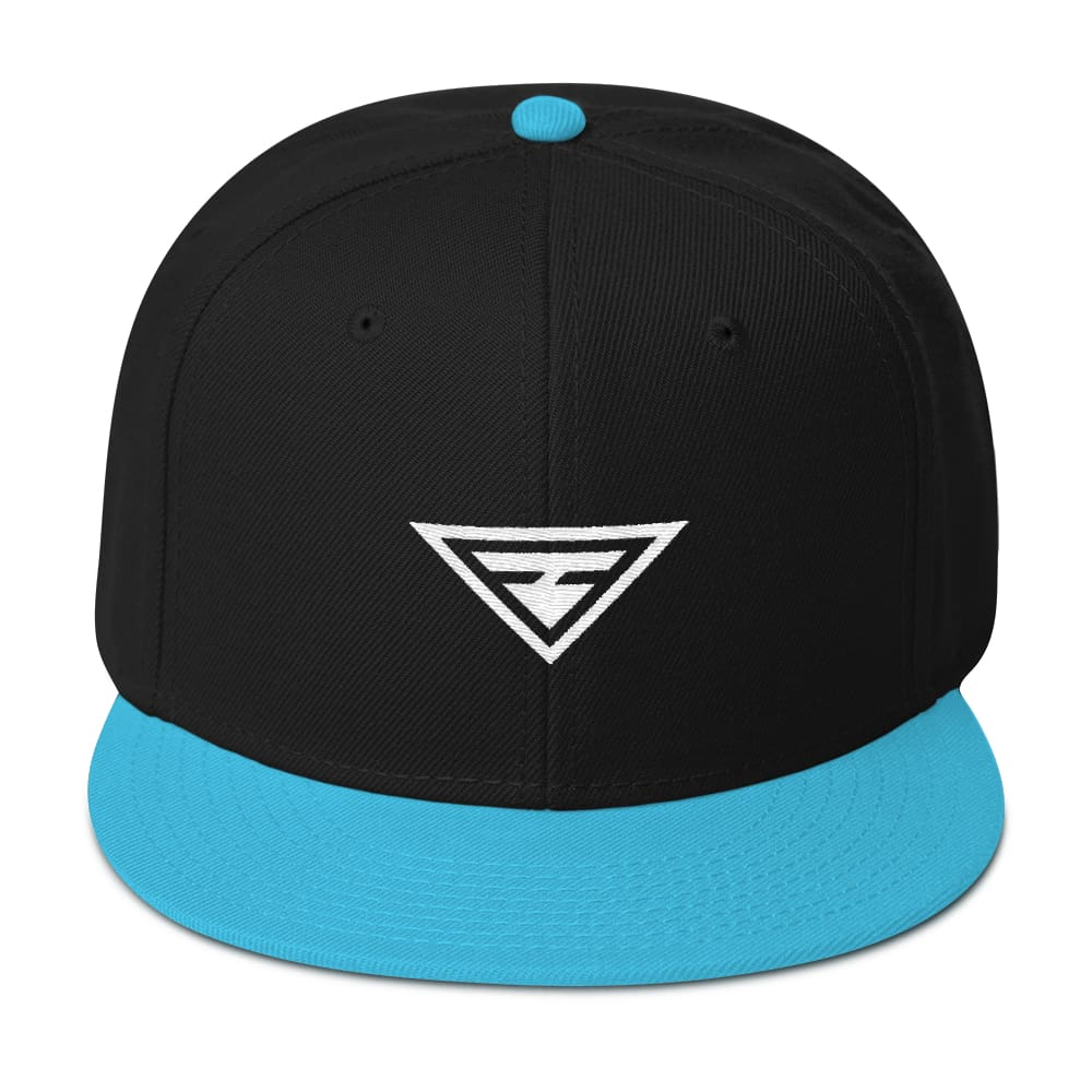 Load image into Gallery viewer, Hero Wool-Blend Flat Brim Snapback Hat - One-size / Aqua blue / Black / Black - Hats