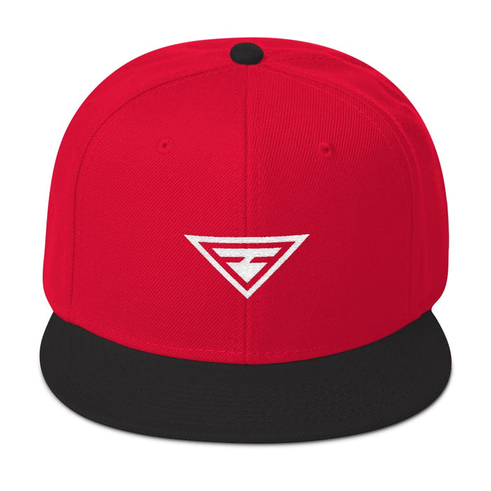 Hero Wool-Blend Flat Brim Snapback Hat - One-size / Black / Red / Red - Hats