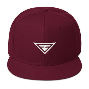 Hero Wool-Blend Flat Brim Snapback Hat - One-size / Burgundy maroon - Hats