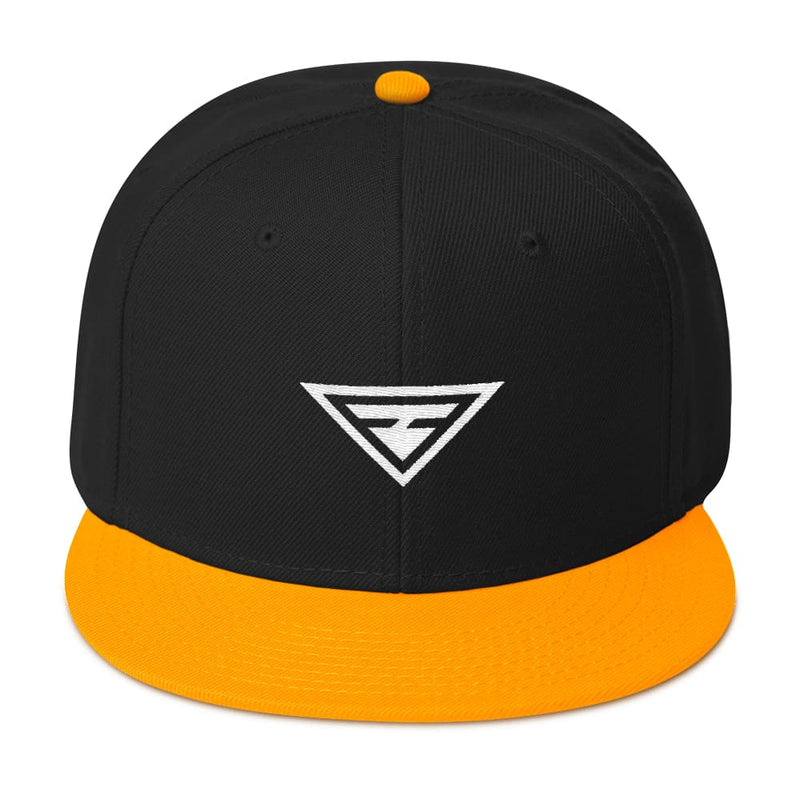 Hero Wool-Blend Flat Brim Snapback Hat - One-size / Gold / Black / Black - Hats