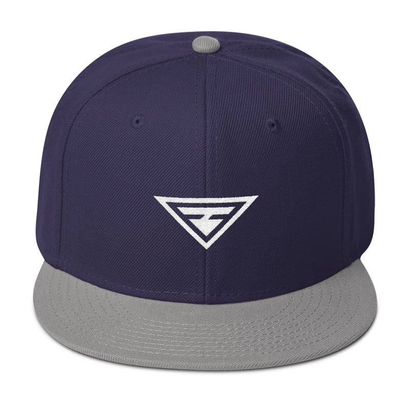 Hero Wool-Blend Flat Brim Snapback Hat - One-size / Gray / Navy blue / Navy blue - Hats