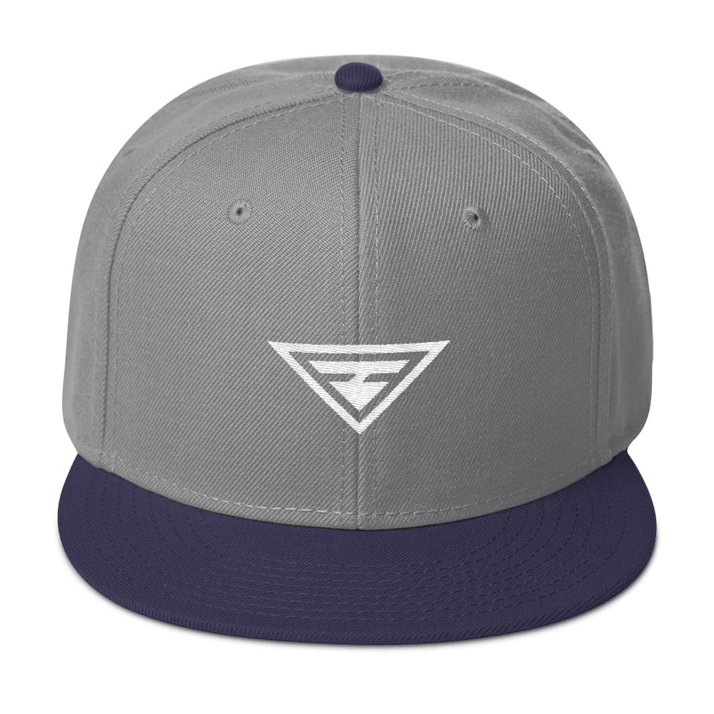 Hero Wool-Blend Flat Brim Snapback Hat - One-size / Navy blue / Gray / Gray - Hats