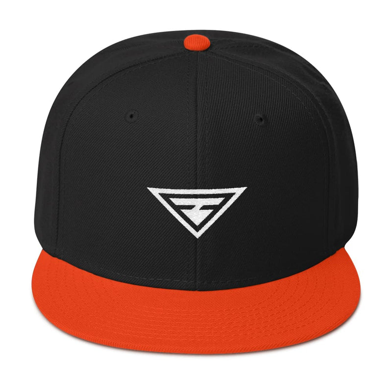 Hero Wool-Blend Flat Brim Snapback Hat - One-size / Orange / Black / Black - Hats