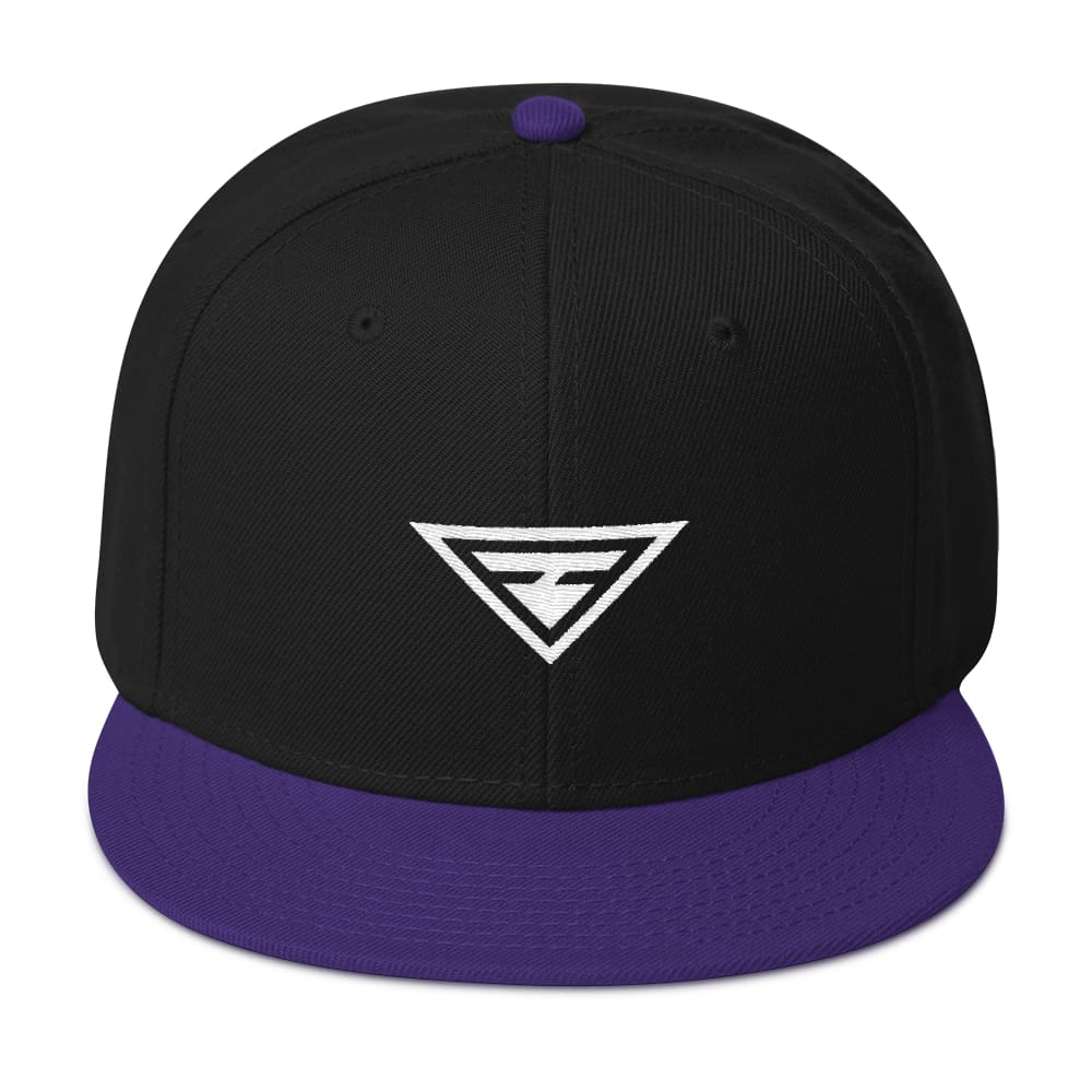 Hero Wool-Blend Flat Brim Snapback Hat - One-size / Purple / Black / Black - Hats