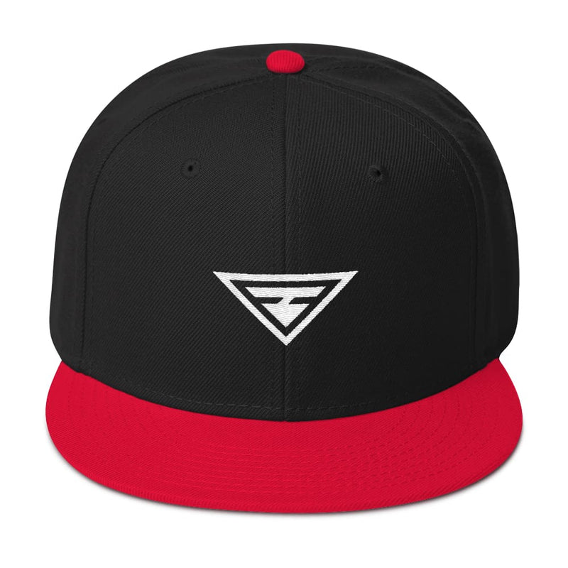Hero Wool-Blend Flat Brim Snapback Hat - One-size / Red / Black / Black - Hats