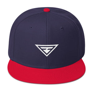 Hero Wool-Blend Flat Brim Snapback Hat - One-size / Red / Navy blue / Navy blue - Hats