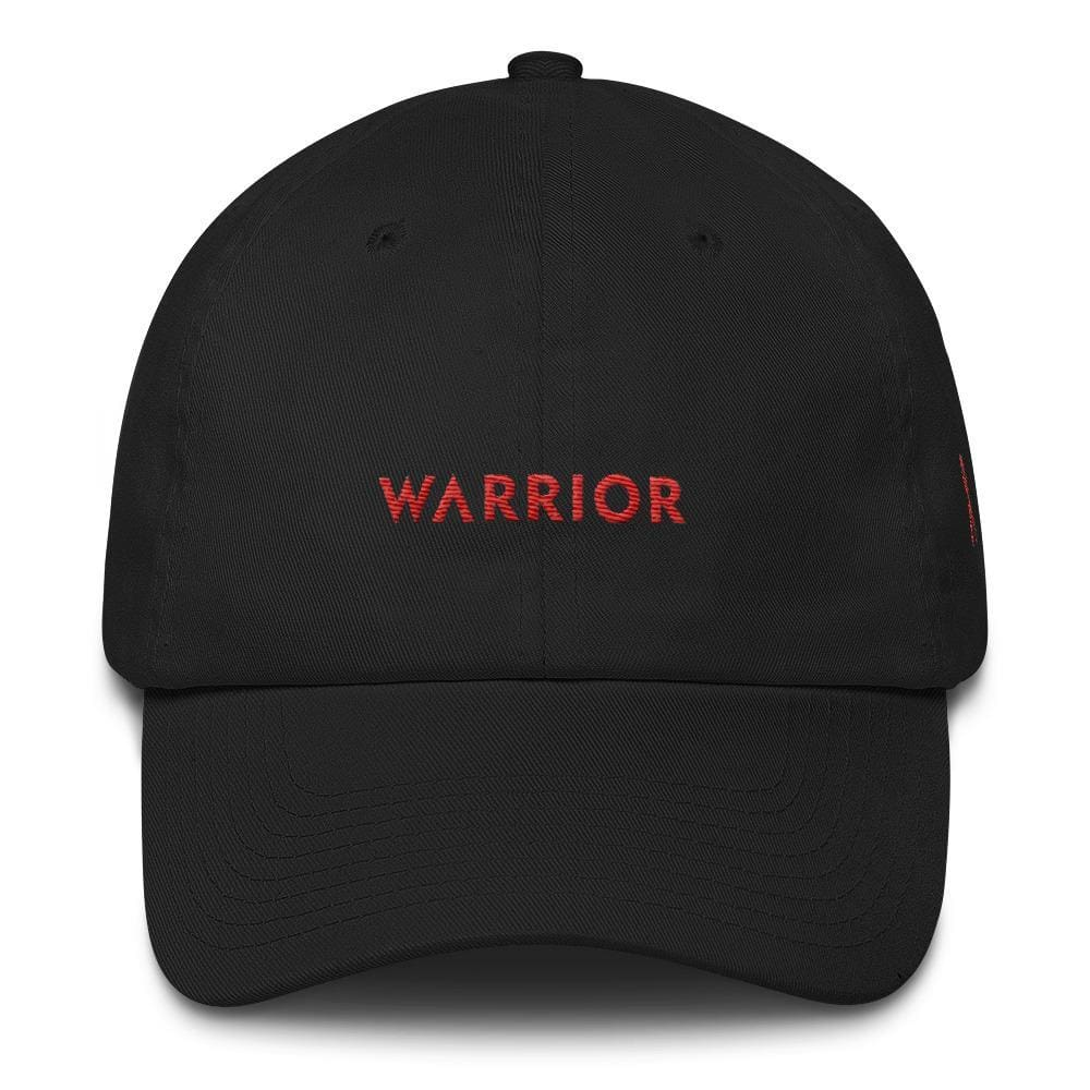 HIV/AIDS or Blood Cancer Awareness Dad Hat with Embroidered Red Ribbon and Warrior - One-size / Black - Hats