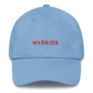 HIV/AIDS or Blood Cancer Awareness Dad Hat with Embroidered Red Ribbon and Warrior - One-size / Carolina Blue - Hats