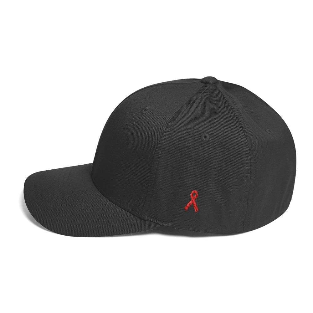 Hiv/aids Or Blood Cancer Awareness Fitted Flexfit Hat With Red Ribbon On The Side - S/m / Dark Grey - Hats