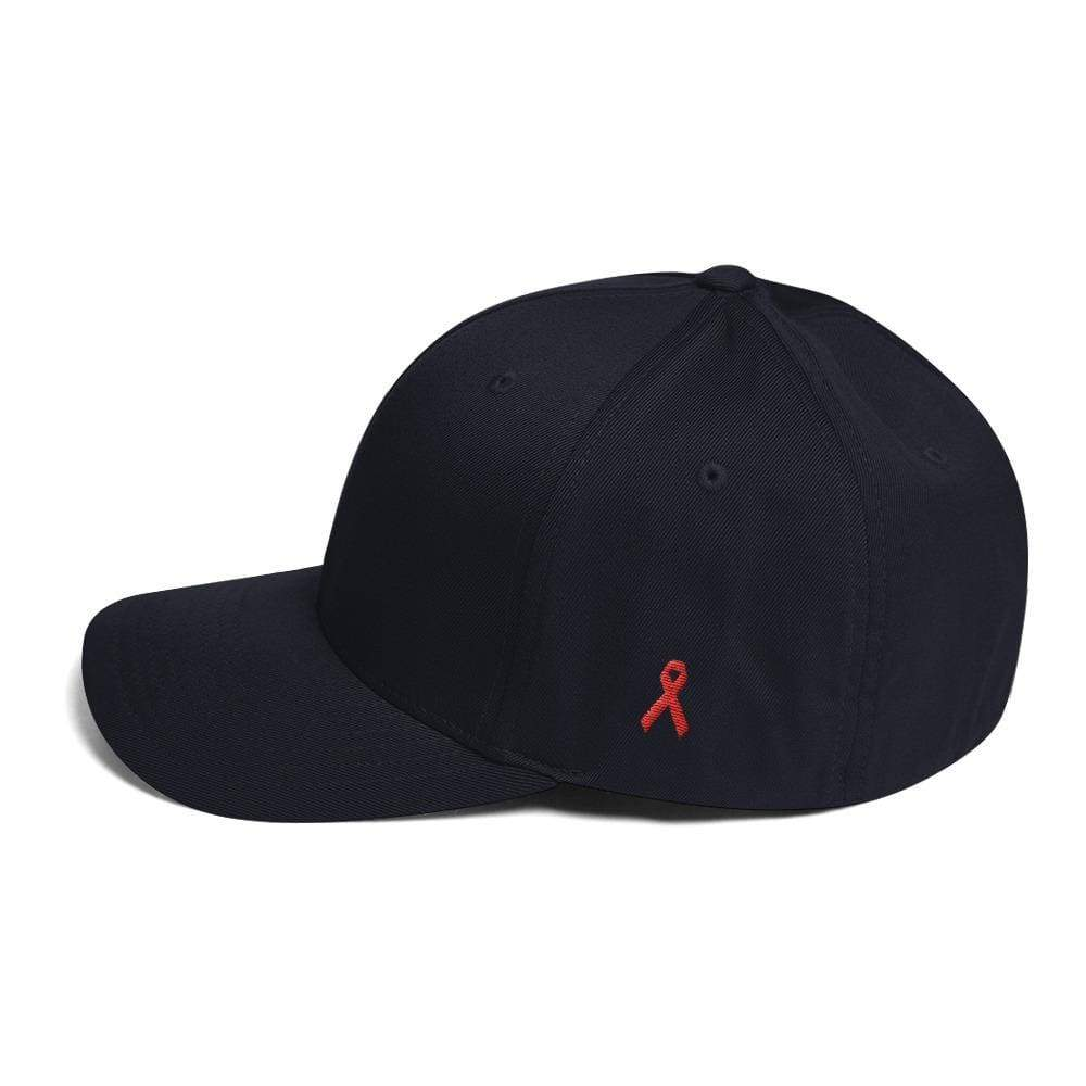 Hiv/aids Or Blood Cancer Awareness Fitted Flexfit Hat With Red Ribbon On The Side - S/m / Dark Navy - Hats