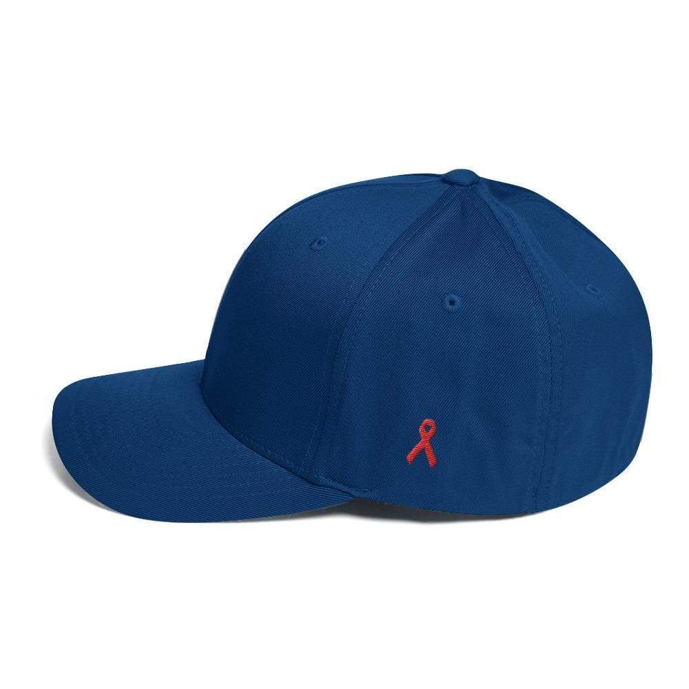 Hiv/aids Or Blood Cancer Awareness Fitted Flexfit Hat With Red Ribbon On The Side - S/m / Royal Blue - Hats