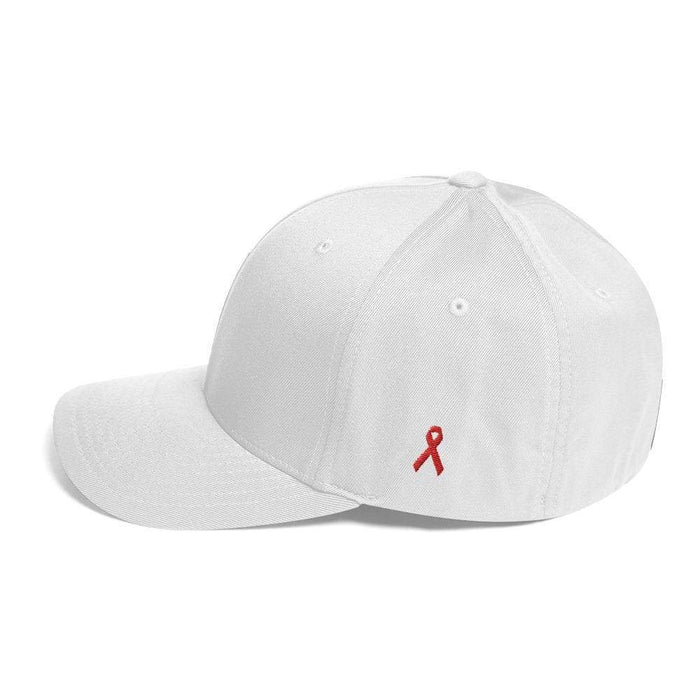 Hiv/aids Or Blood Cancer Awareness Fitted Flexfit Hat With Red Ribbon On The Side - S/m / White - Hats