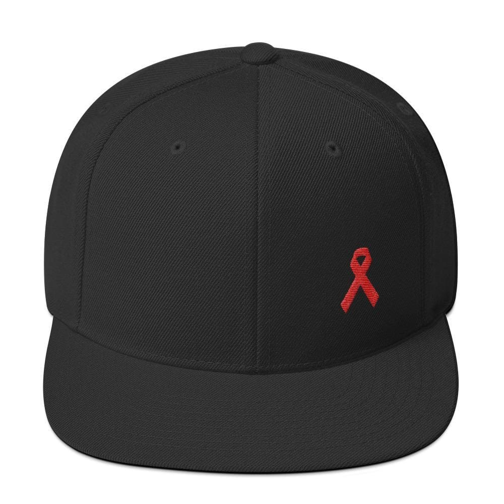 HIV/AIDS or Blood Cancer Awareness Red Ribbon Flat Brim Snapback Hat