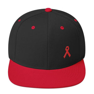 HIV/AIDS or Blood Cancer Awareness Red Ribbon Flat Brim Snapback Hat - One-size / Black/ Red - Hats