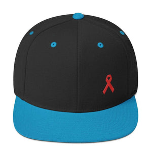 HIV/AIDS or Blood Cancer Awareness Red Ribbon Flat Brim Snapback Hat - One-size / Black/ Teal - Hats
