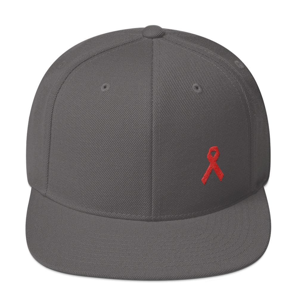 HIV/AIDS or Blood Cancer Awareness Red Ribbon Flat Brim Snapback Hat - One-size / Dark Grey - Hats