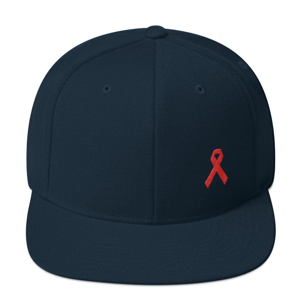 HIV/AIDS or Blood Cancer Awareness Red Ribbon Flat Brim Snapback Hat - One-size / Dark Navy - Hats