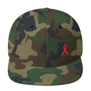 HIV/AIDS or Blood Cancer Awareness Red Ribbon Flat Brim Snapback Hat - One-size / Green Camo - Hats
