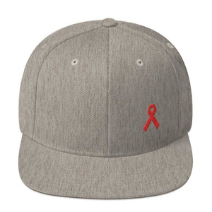 HIV/AIDS or Blood Cancer Awareness Red Ribbon Flat Brim Snapback Hat - One-size / Heather Grey - Hats