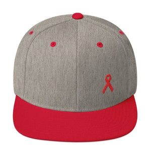 HIV/AIDS or Blood Cancer Awareness Red Ribbon Flat Brim Snapback Hat - One-size / Heather Grey/ Red - Hats
