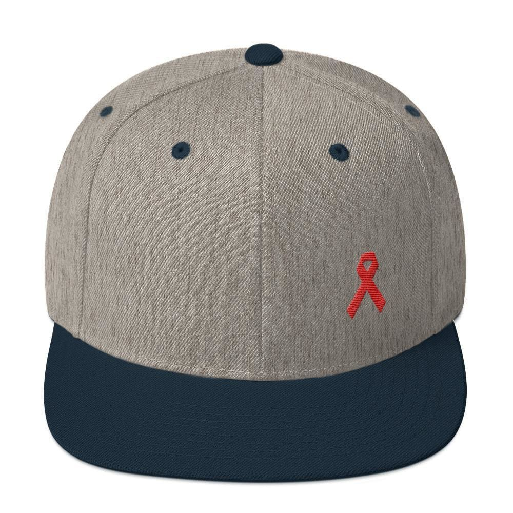 HIV/AIDS or Blood Cancer Awareness Red Ribbon Flat Brim Snapback Hat - One-size / Heather Grey/ Navy - Hats