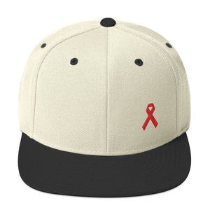HIV/AIDS or Blood Cancer Awareness Red Ribbon Flat Brim Snapback Hat - One-size / Natural/ Black - Hats