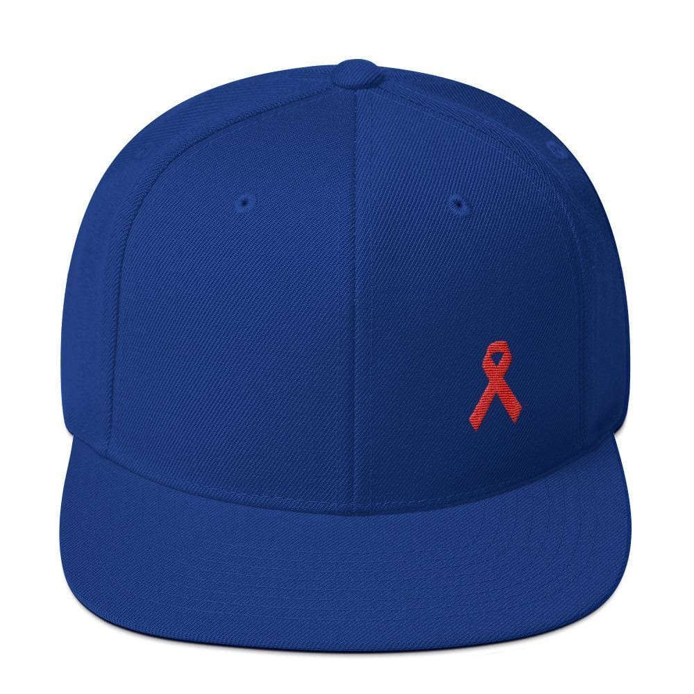 HIV/AIDS or Blood Cancer Awareness Red Ribbon Flat Brim Snapback Hat - One-size / Royal Blue - Hats