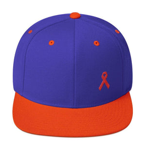 HIV/AIDS or Blood Cancer Awareness Red Ribbon Flat Brim Snapback Hat - One-size / Royal/ Orange - Hats