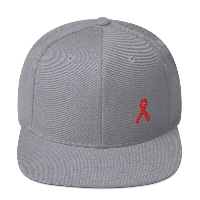 HIV/AIDS or Blood Cancer Awareness Red Ribbon Flat Brim Snapback Hat - One-size / Silver - Hats