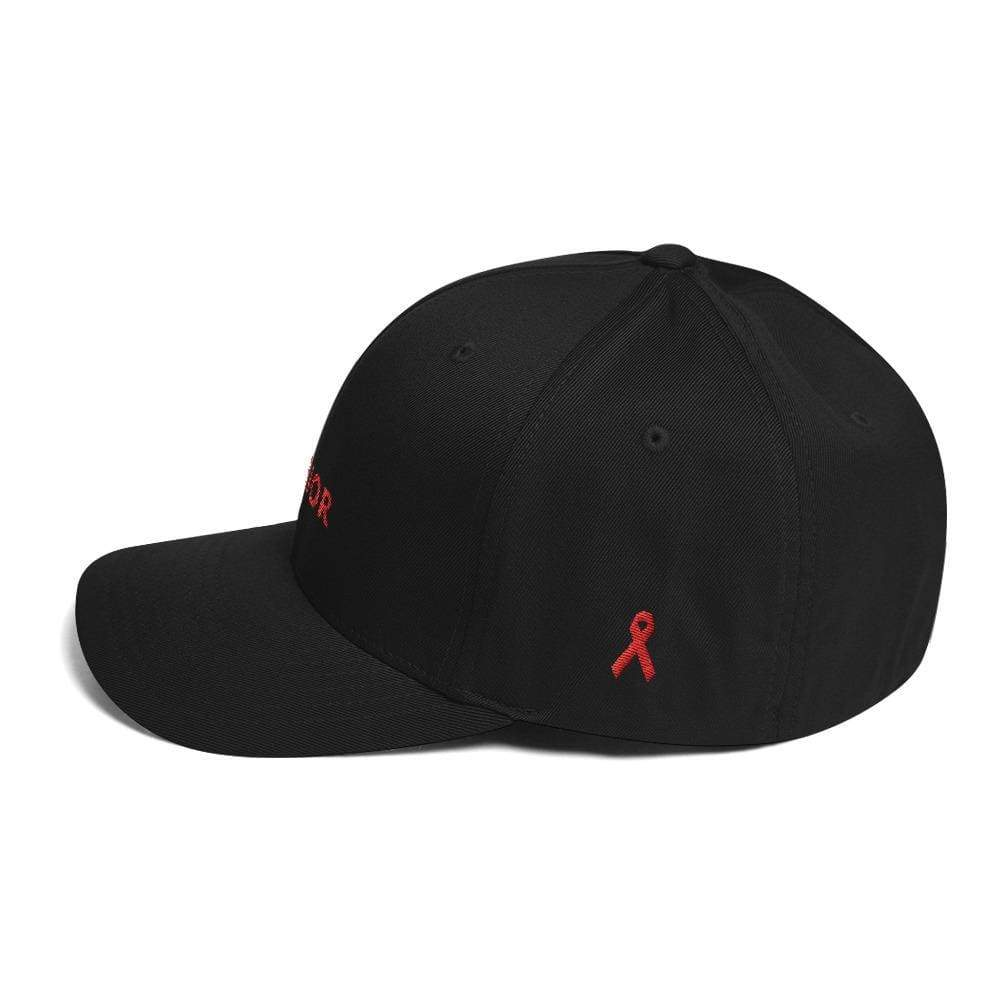 Load image into Gallery viewer, Hiv/aids Or Blood Cancer Awareness Twill Flexfit Fitted Hat With Red Ribbon And Warrior - Hats