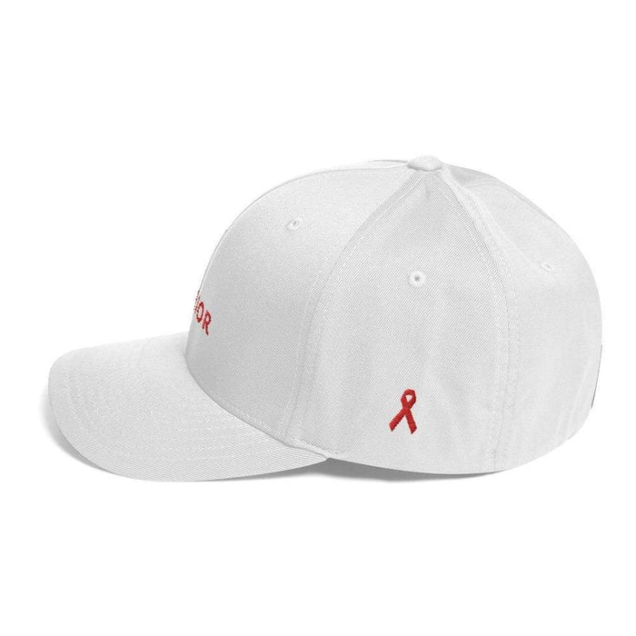 Hiv/aids Or Blood Cancer Awareness Twill Flexfit Fitted Hat With Red Ribbon And Warrior - Hats