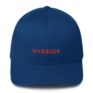 Load image into Gallery viewer, Hiv/aids Or Blood Cancer Awareness Twill Flexfit Fitted Hat With Red Ribbon And Warrior - S/m / Royal Blue - Hats