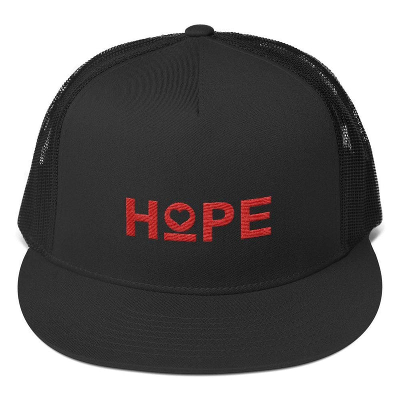 Hope 5-Panel Embroidered Snapback Trucker Hat (Red) - One-size / Black - Hats