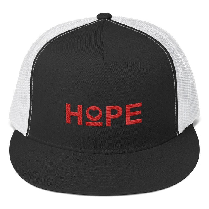 Hope 5-Panel Embroidered Snapback Trucker Hat (Red) - One-size / Black/ White - Hats