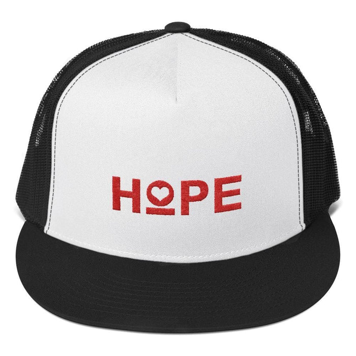 Hope 5-Panel Embroidered Snapback Trucker Hat (Red) - One-size / Black/ White/ Black - Hats