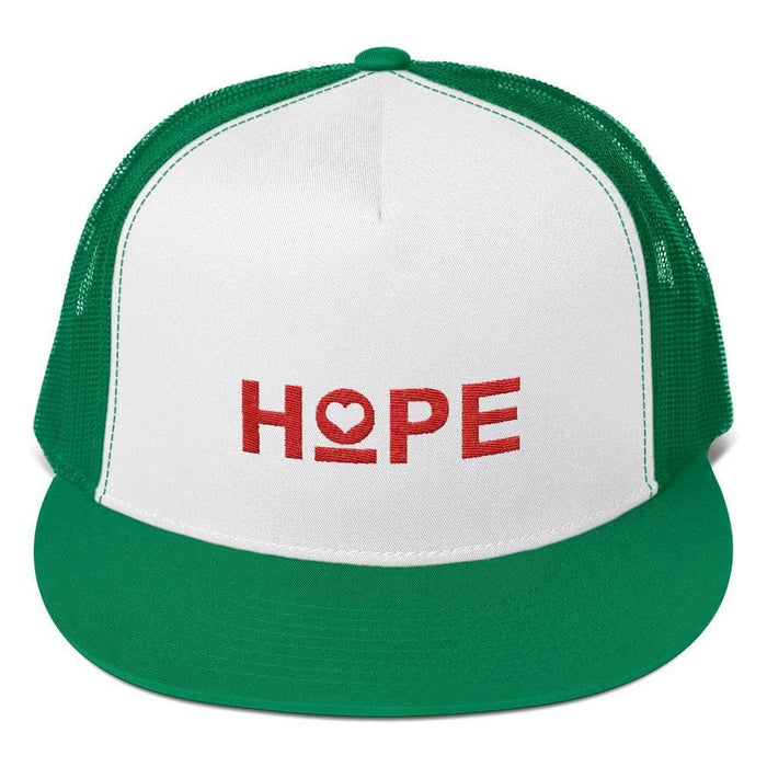 Hope 5-Panel Embroidered Snapback Trucker Hat (Red) - One-size / Kelly/ White/ Kelly - Hats