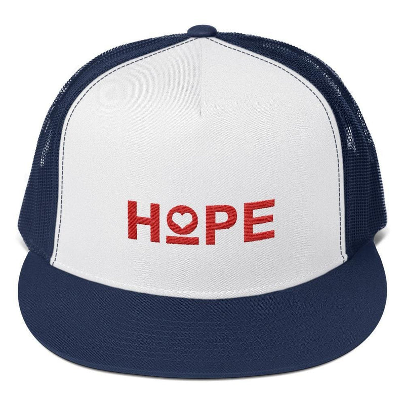 Hope 5-Panel Embroidered Snapback Trucker Hat (Red) - One-size / Navy/ White/ Navy - Hats