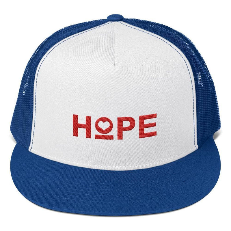 Hope 5-Panel Embroidered Snapback Trucker Hat (Red) - One-size / Royal/ White/ Royal - Hats