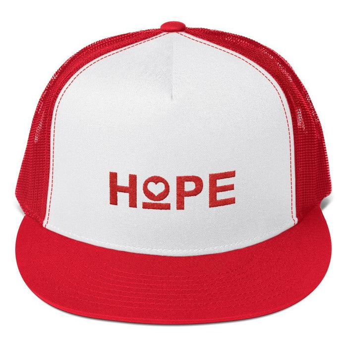 Hope 5-Panel Embroidered Snapback Trucker Hat (Red) - One-size / Red/ White/ Red - Hats