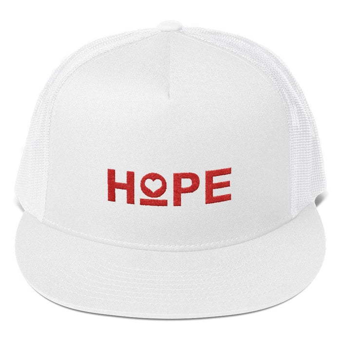 Hope 5-Panel Embroidered Snapback Trucker Hat (Red) - One-size / White - Hats