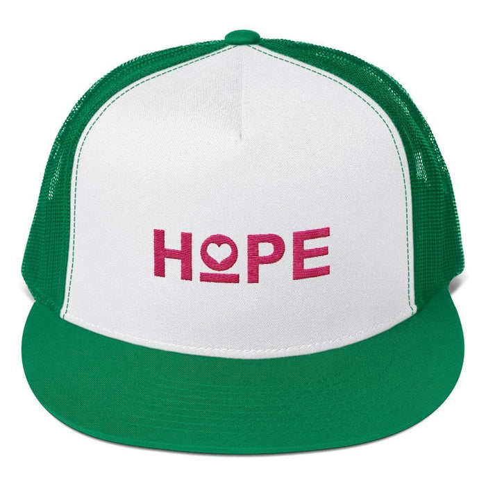 Hope Heart 5-Panel Snapback Trucker Hat - One-size / Kelly green - Hats