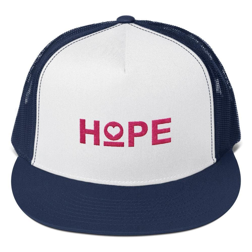 Load image into Gallery viewer, Hope Heart 5-Panel Snapback Trucker Hat - One-size / Navy - Hats