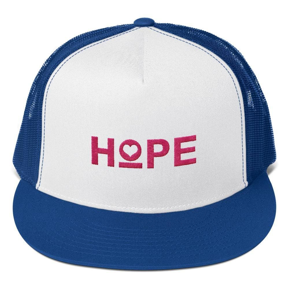 Hope Heart 5-Panel Snapback Trucker Hat - One-size / Royal blue - Hats